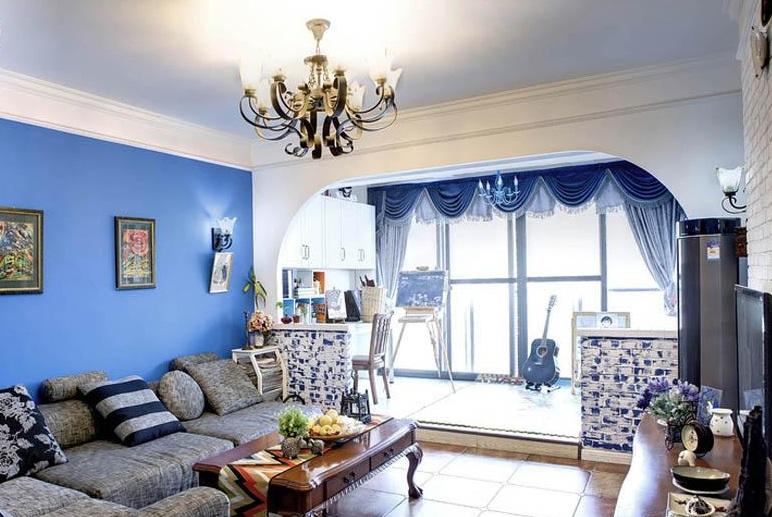 蓝色复古地中海客厅落地窗效果图