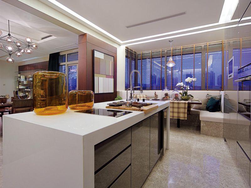 现代时尚设计公寓&别墅厨房吧台装潢案例图