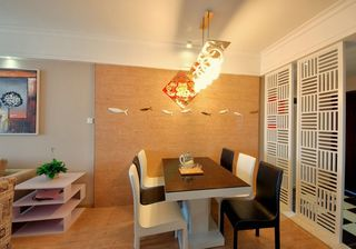 现代风格餐厅镂空隔断效果图