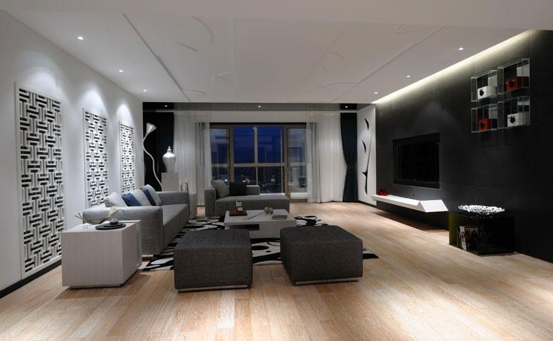 时尚摩登现代简中式客厅沙发镂空背景墙效果图