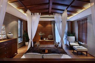复古异域风情混搭卧室木质吊顶效果图