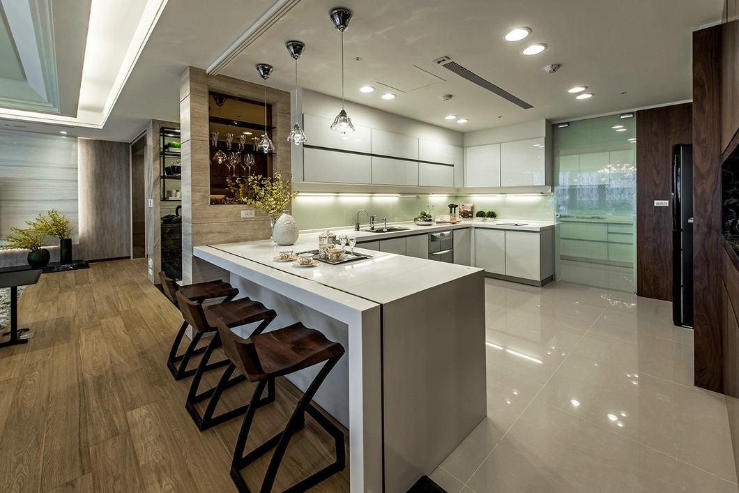 现代简约开放式厨房白色吧台效果图