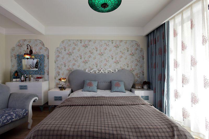 蓝色清新地中海风格复式家居卧室梳妆台效果图