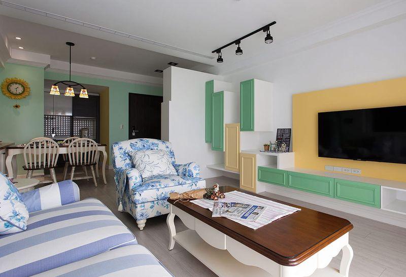 绿色小清新的田园美式混搭小户型室内设计