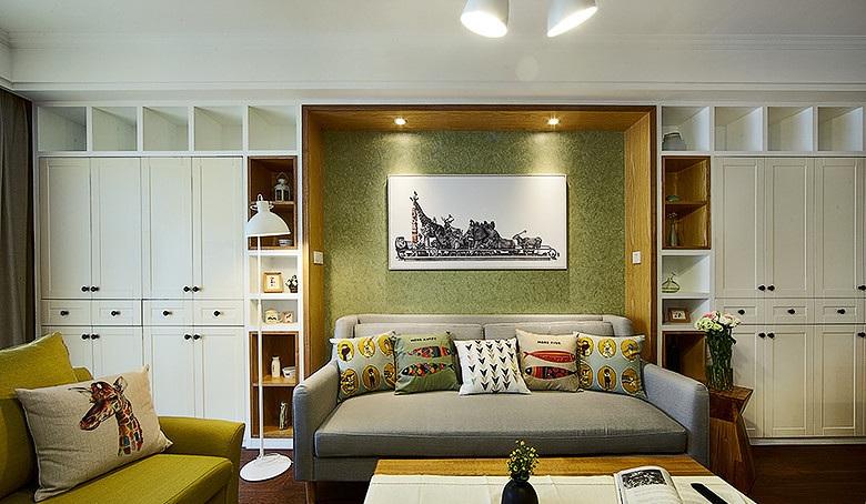 森系北欧风客厅白色展示柜效果图