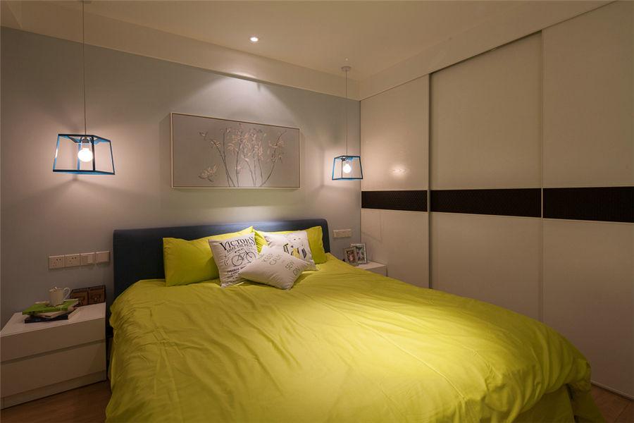 典雅舒适现代卧室背景墙效果图