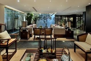 典雅中式茶室客厅一体效果图
