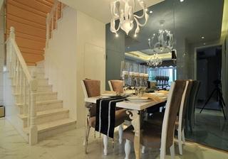 清新简欧风格复式家装餐厅设计装饰效果图