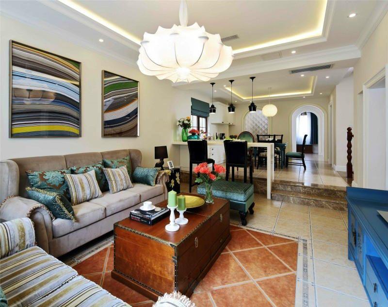 新古典风格两居室客厅沙发背景墙效果图