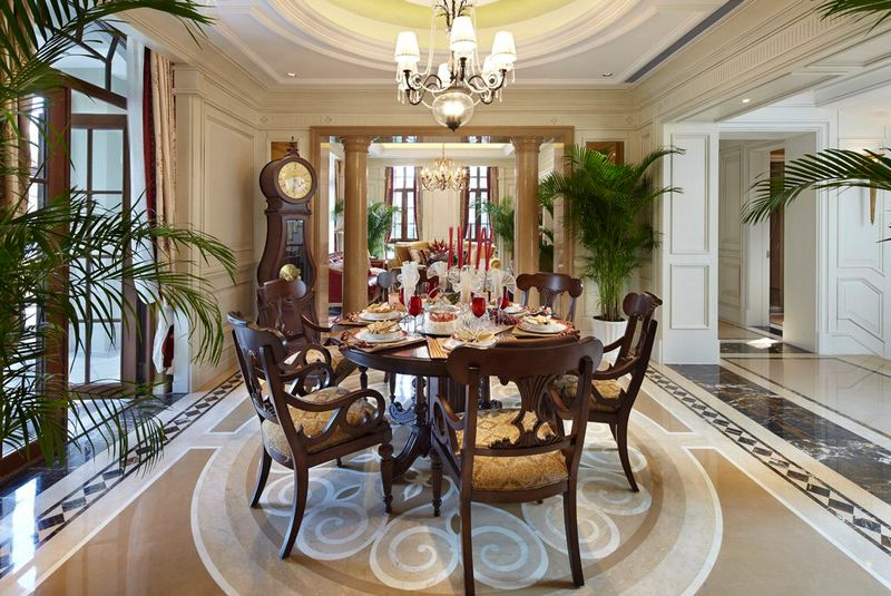 豪华欧式风格别墅室内餐厅设计装饰效果图