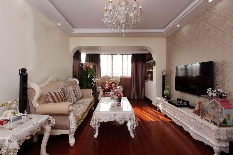 浪漫温馨简欧风格设计三居客厅装修效果图