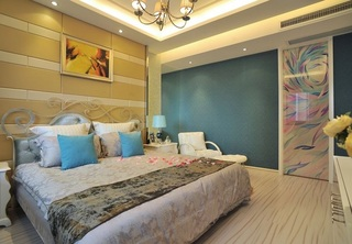 清新简欧风格复式卧室背景墙设计装潢效果图