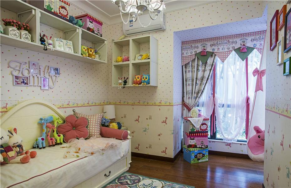 粉色美式田园儿童房储物柜效果图