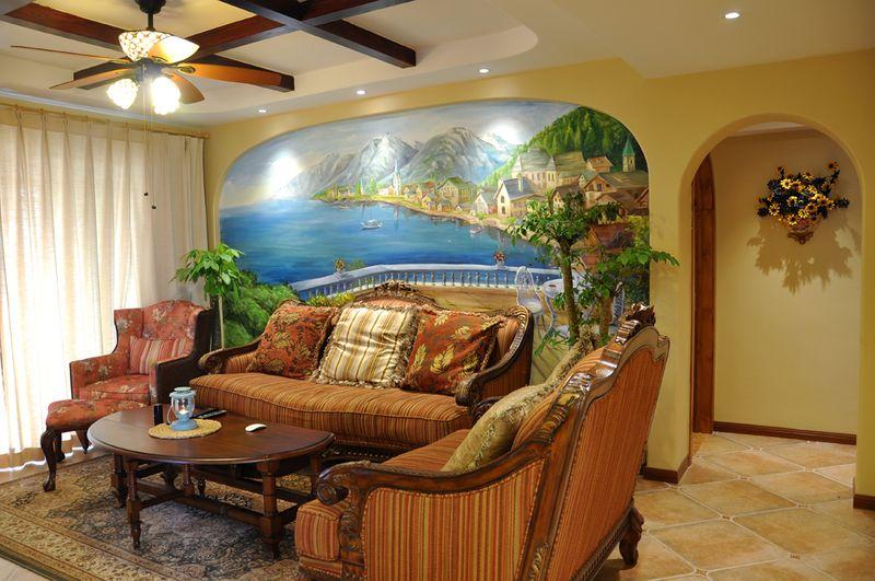 色彩多样地中海风格三居设计客厅装修效果图