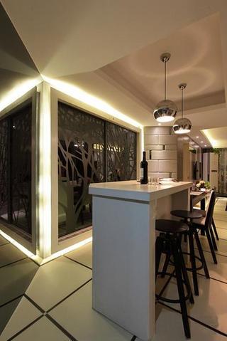 摩登现代吧台黑色炫酷镜面背景墙效果图