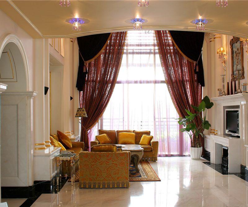 欧式现代风格别墅室内客厅灯饰装潢效果图