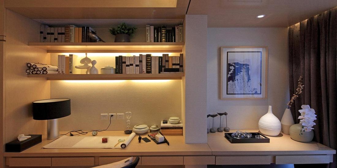 禅风简中式三居室书房书架设计效果图