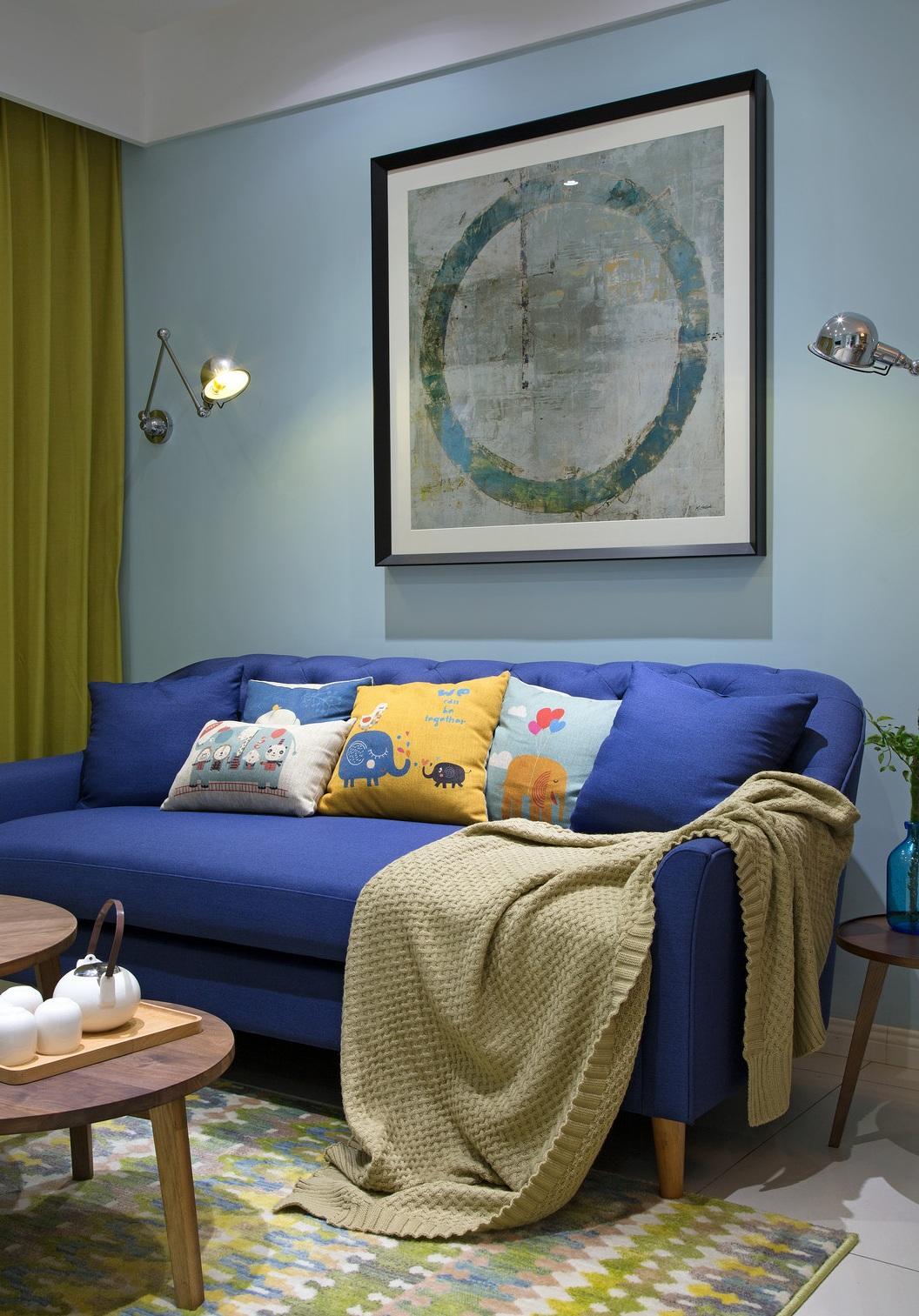 蓝色清新现代风客厅沙发背景墙效果图