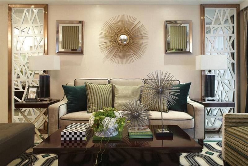 低奢现代波普风客厅特色背景墙效果图