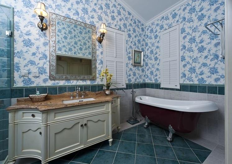 美式田园风不规则浴室背景墙效果图