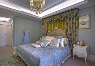 梦幻华丽欧式主卧室床头背景墙设计效果图