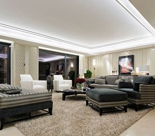 时尚现代风格客厅玻璃隔断图片