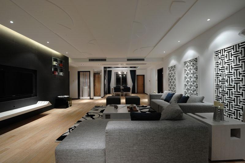 时尚摩登现代简中式风格三居设计效果图