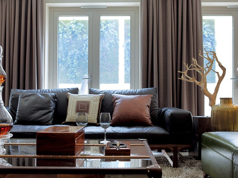 现代时尚客厅室内窗帘装潢效果图