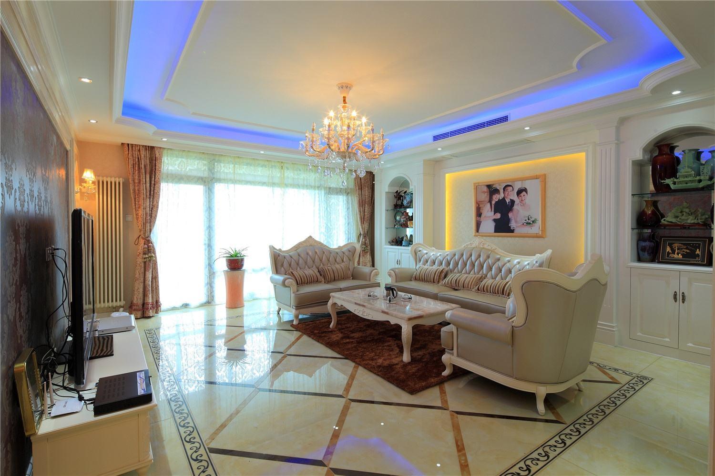 简欧客厅吊顶与灯具展示效果图