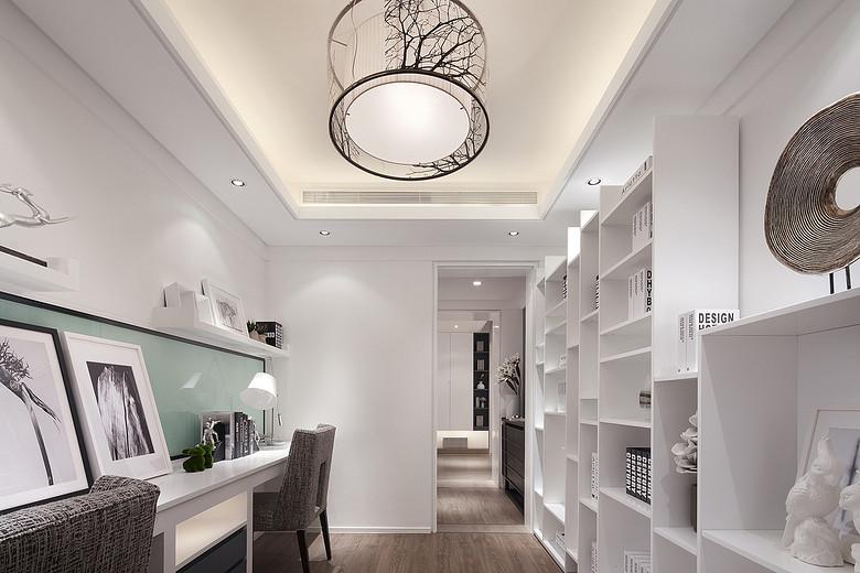时尚简约白色书房吊顶装潢效果图