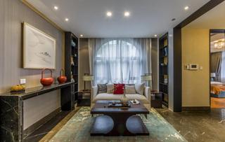 清爽现代中式别墅客厅设计装饰效果图