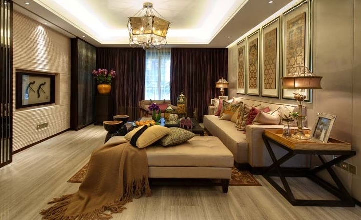 120平时尚新中式三居装修效果图片