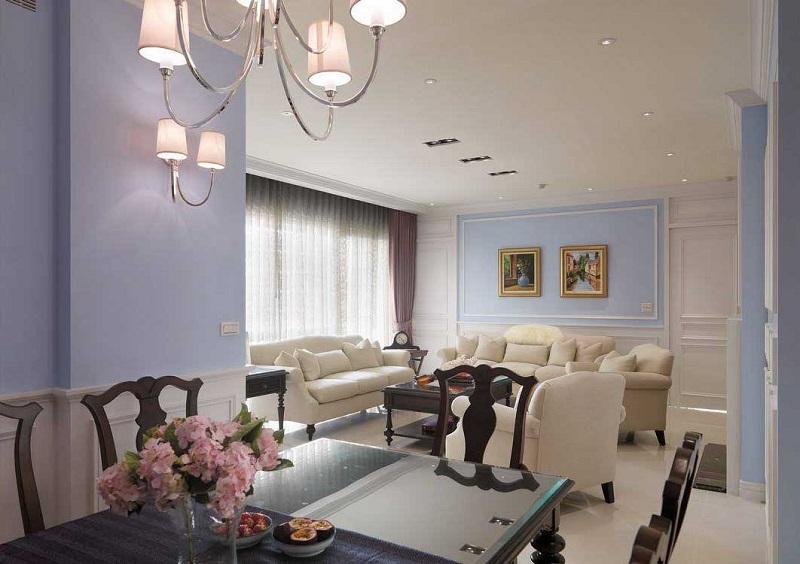 110平简美温馨三居客厅背景墙效果图