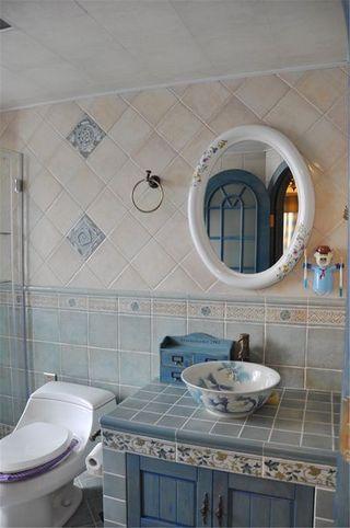 地中海风格室内卫生间蓝白色搭配装修图片