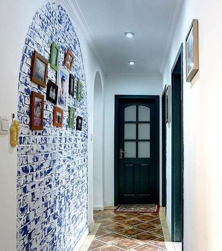 复古地中海玄关拱形照片墙效果图