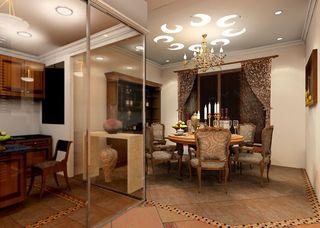 欧式复古风混搭客厅玻璃隔断图片