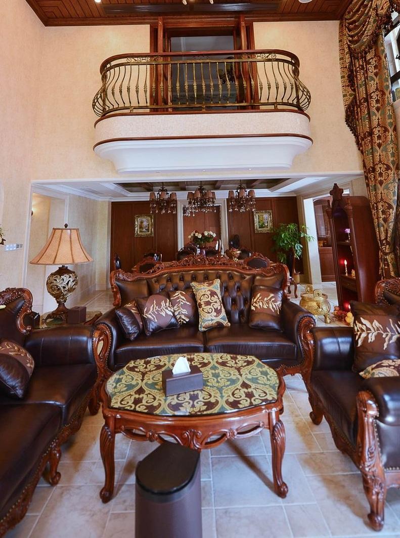 美式复古别墅客厅效果图