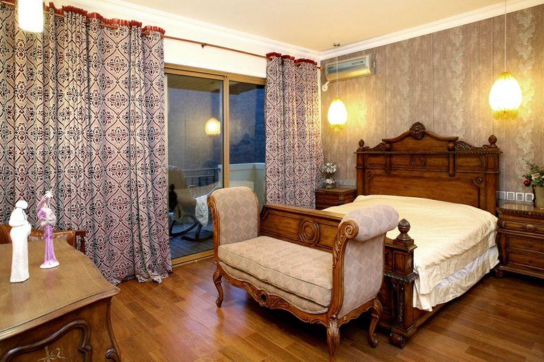 欧式复古设计卧室窗帘效果图