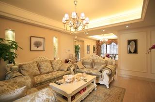 简欧风格设计客厅灯具装修效果图片