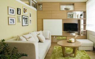 简约小客厅多功能组合格背景墙效果图