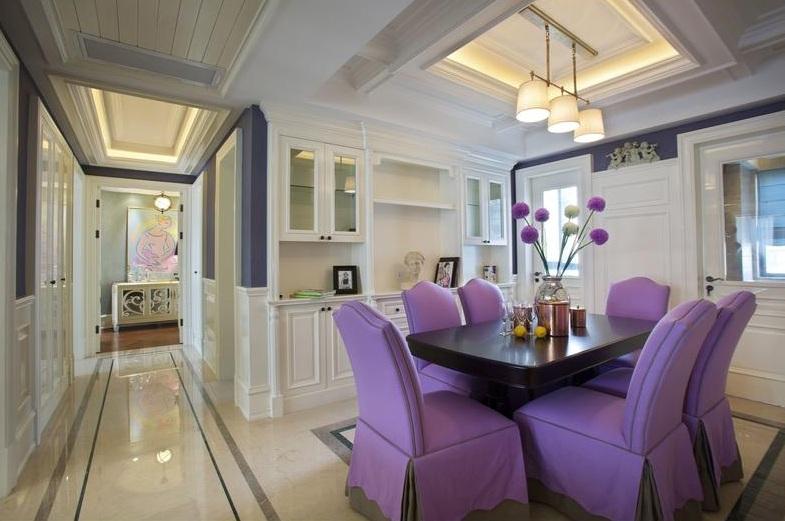 奢华后现代餐厅紫色餐桌效果图