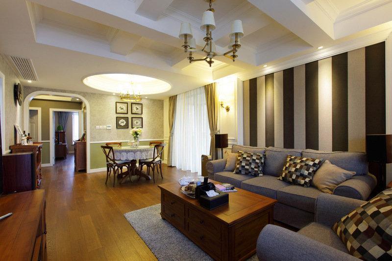 舒适美式简约复古风格客餐厅一体效果图