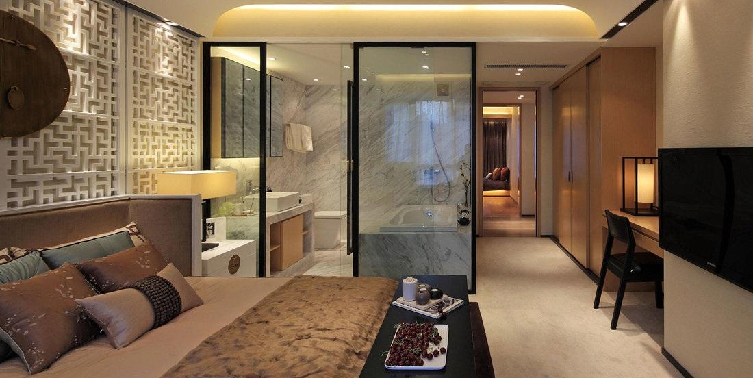 宁静雅致禅风简中式主卧室设计装潢效果图