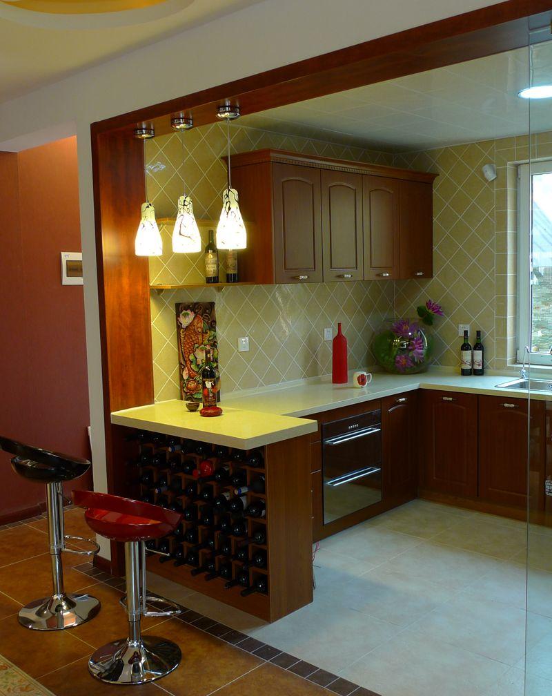 新中式厨房创意酒柜吧台效果图