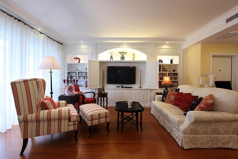 温馨美式客厅多功能电视背景墙装潢设计