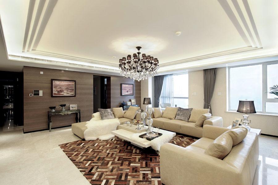 简洁时尚现代风格三居客厅沙发装修案例图