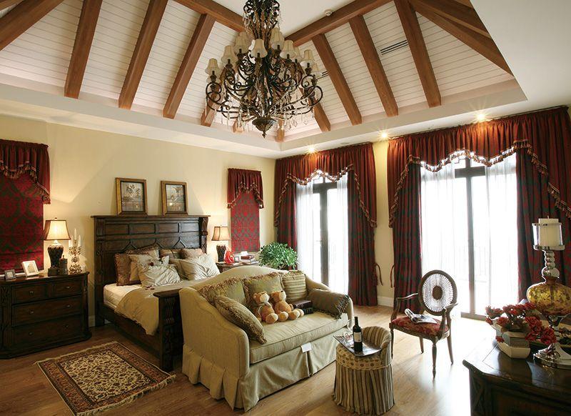 美式风格复古别墅卧室实木吊顶效果图