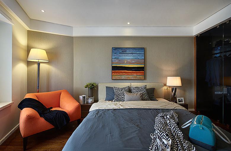 现代动感色彩卧室效果图