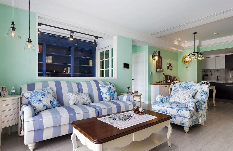 小清新美式田园混搭客厅沙发效果图