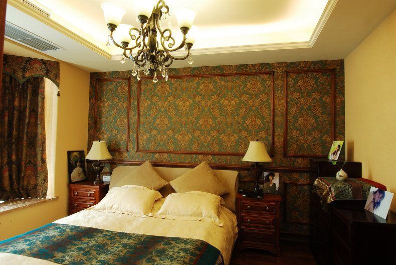 复古美式风格复式卧室床头背景墙设计装饰效果图片